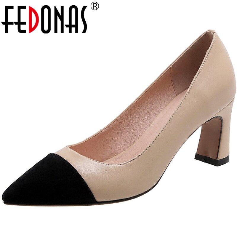 FEDONAS-أحذية جلدية أصلية للنساء ، أحذية نسائية بكعب سميك ، أحذية صيفية أنيقة للعمل ، كاجوال