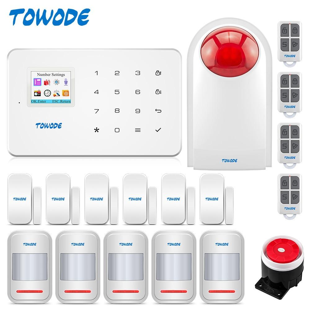 TOWODE G18 GSM Home Security Alarm System 1.7inch Touch Keypad Phone APP Remote Contrl Wireless Motion Sensor Burglar Alarm Kit