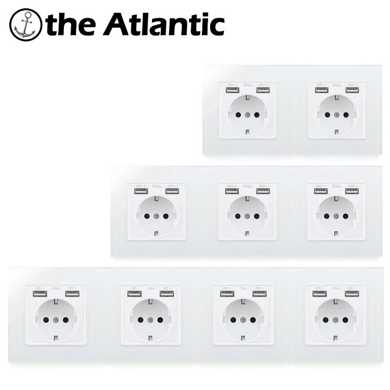 Atlectric EU Standard Plug Socket Dual USB Port Wall Power Socket Electrical Outlet Glass Panel Double Triple Quadruple Socket