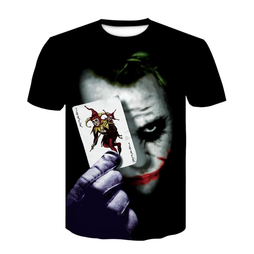 Harajuku 3D Joker camiseta moda verano camiseta hombres mujeres Casual Anime Suicide Squad Poker superhéroe 3D camisetas impresas completas