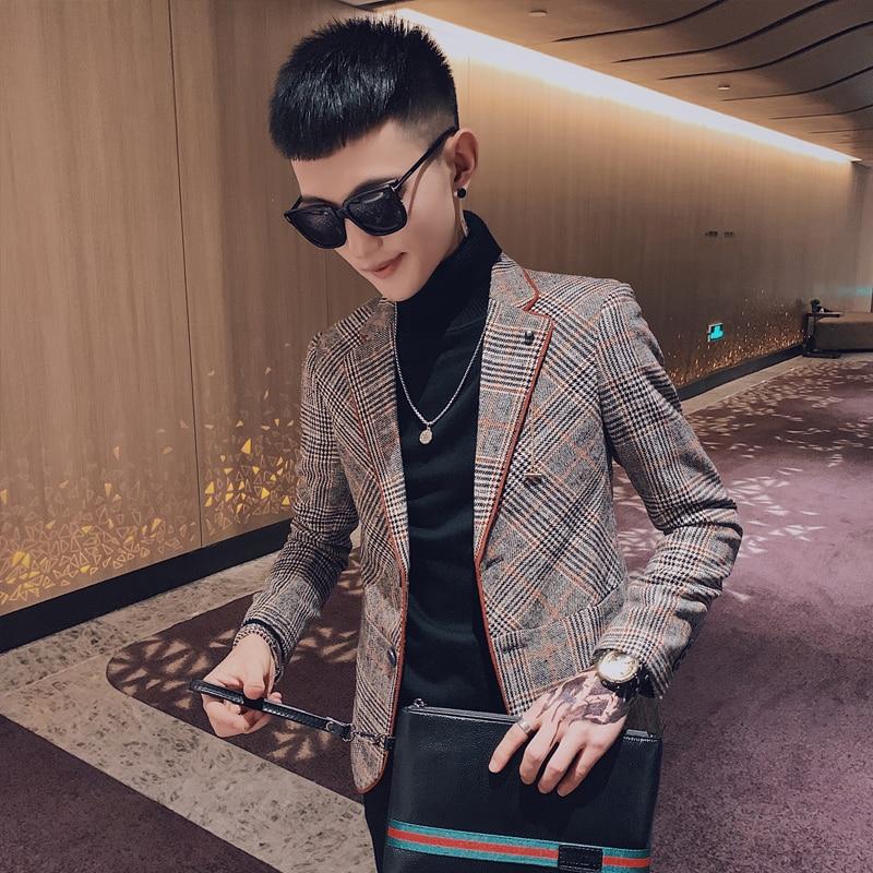 Últimas Slim Fit Men Blazer Moda Bonito Tweed Blazers Casual Ternos Dos Homens da Manta Listrada Blazer Homme Homens Casuais Terno YY50MB