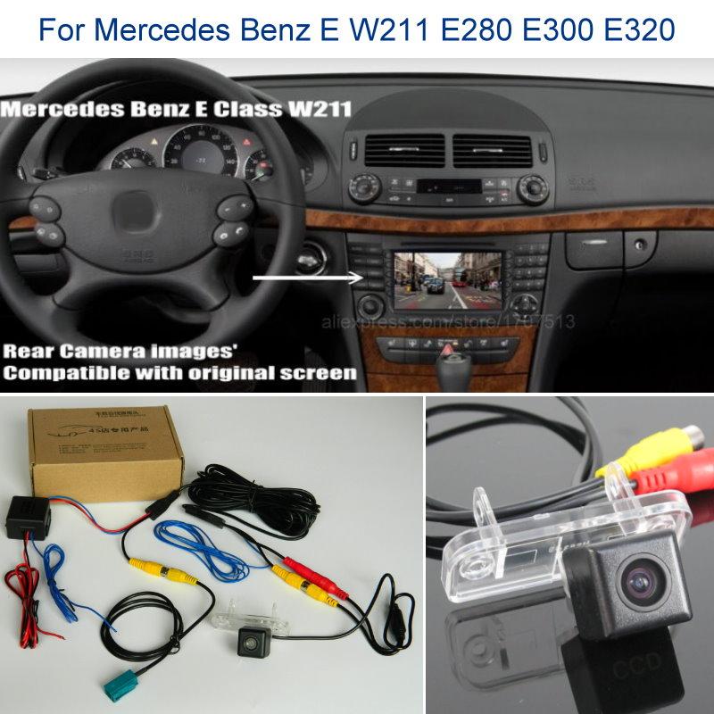 Back up câmera reversa para mercedes benz e w211 e280 e300 e320-conjuntos de câmera de visão traseira do carro rca & tela original