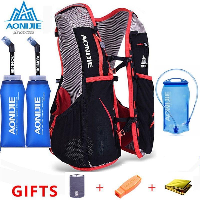 AONIJIE 5L Marathon Chaleco de hidratación paquete para 1,5 l bolsa de agua mujeres hombres ciclismo senderismo bolsa al aire libre Deporte Running mochila E906