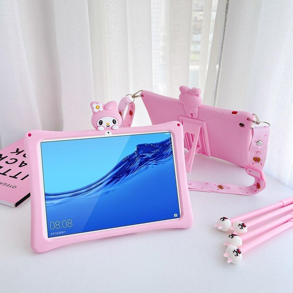 Para Huawei MediaPad M5 lite 8,0 10,1/M6 8,4 Matepad Pro 10,8 funda de dibujos animados para niños para Huawei T5 10 10,1 ''cubierta de silicona + correa