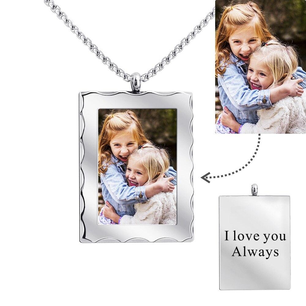 Персонализированное ожерелье из нержавеющей стали с фото свадебная фотография на заказ с гравировкой фото собаки ожерелье военный подарок...