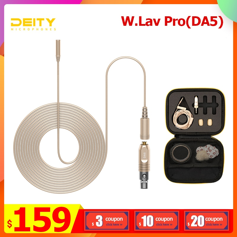 Micrófono profesional Lavalier Deity W.Lav Pro(DA5) IP57 resistente al agua clasificación omnidireccional 4mm 1,8 m Mic para grabar Stream