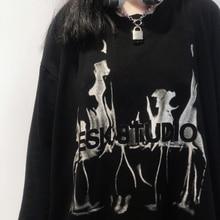 Spring Autumn Korean Ins Retro Dark Letter Printed T-shirt Cool Street Style Loose Long Sleeve Top M