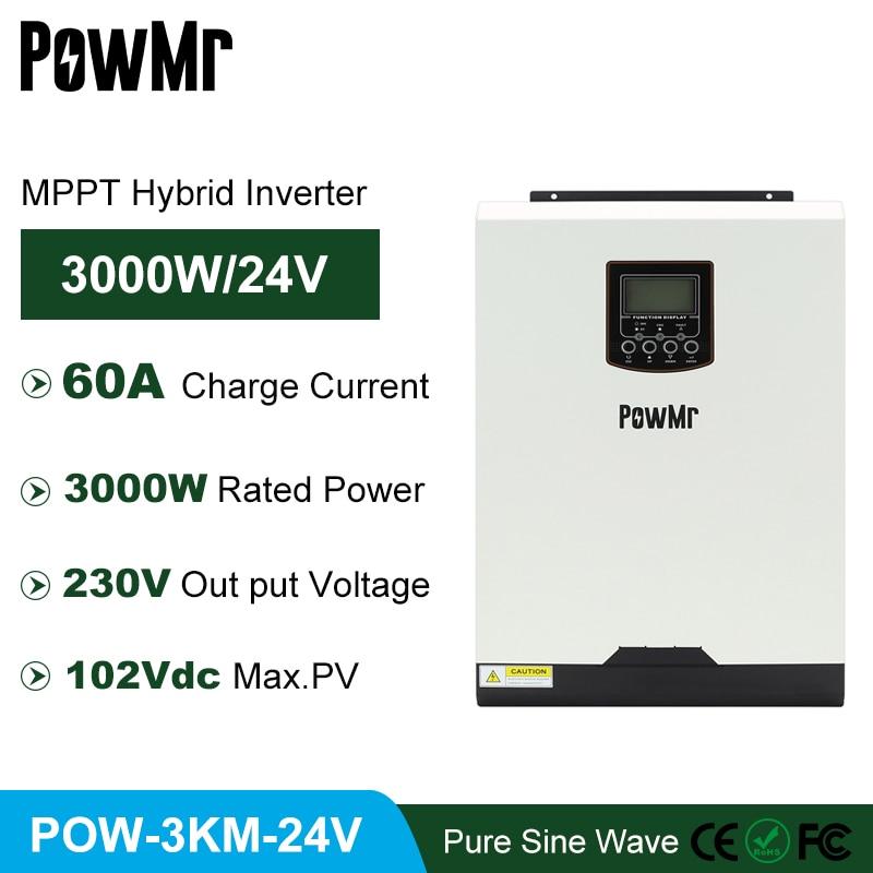 MPPT 60A 3KVA 3000 واط خارج الشبكة شاحن بالطاقة الشمسية العاكس 50 هرتز 60 هرتز نقية شرط موجة 230VAC الناتج و ماكس PV 102VDC لنظام PV