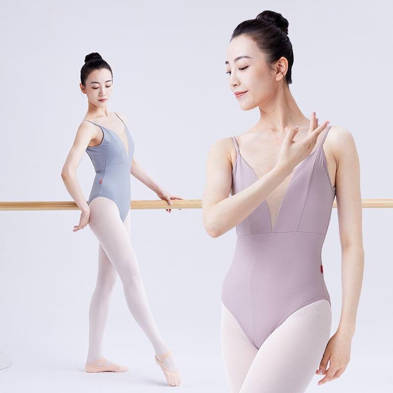 Балетное трико для женщин, взрослые майка для танцев, гимнастика, танцы, боди на бретелях с подкладкой, взрослые балетные танцевальные купал...