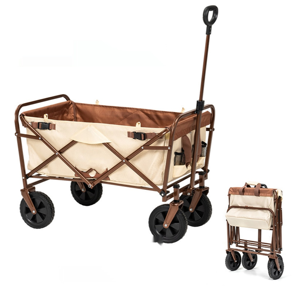 Heavy Duty Collapsible Utility Wagon Stroller Carts Outdoor Garden Cart Rubber Universal Wheels for Camping Yard Pinic