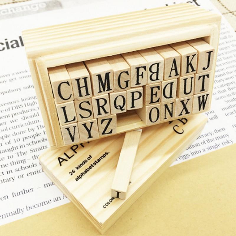 26pcs/box Letter DIY Retro English Alphabet Series Square Shape Wood Seal Scrapbooking Standard Stamp