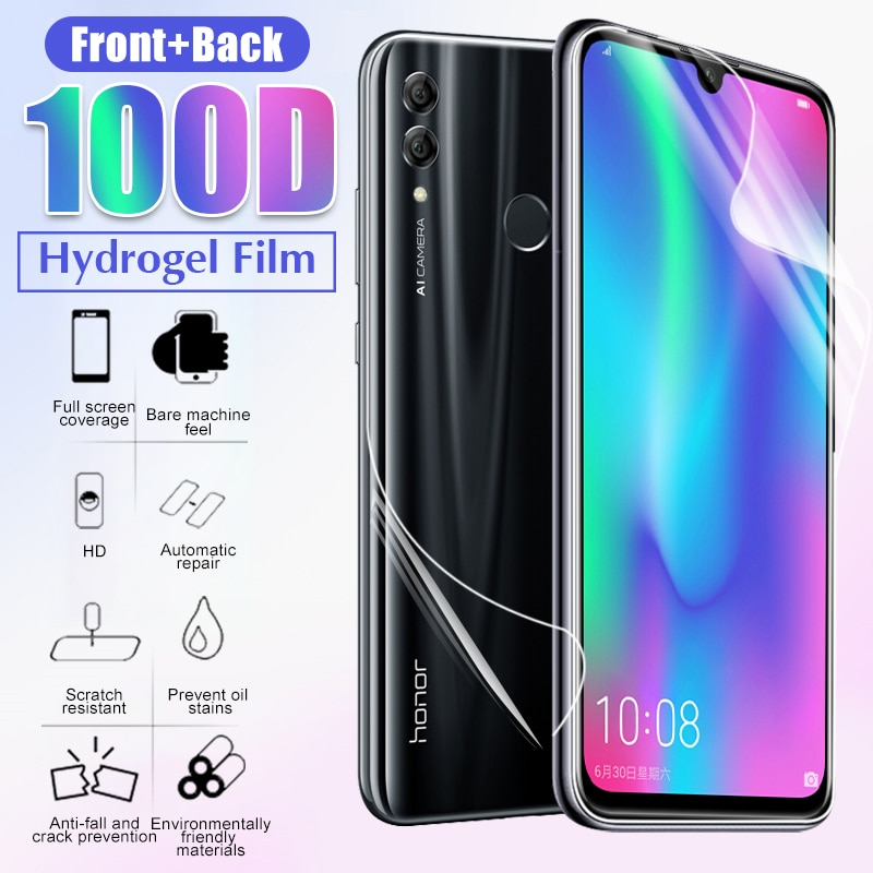 100D espalda cubierta de película Protector de pantalla para el Huawei Honor 8x 9x 10i 9 10 Lite 20 Pro hidrogel de película protectora no de vidrio