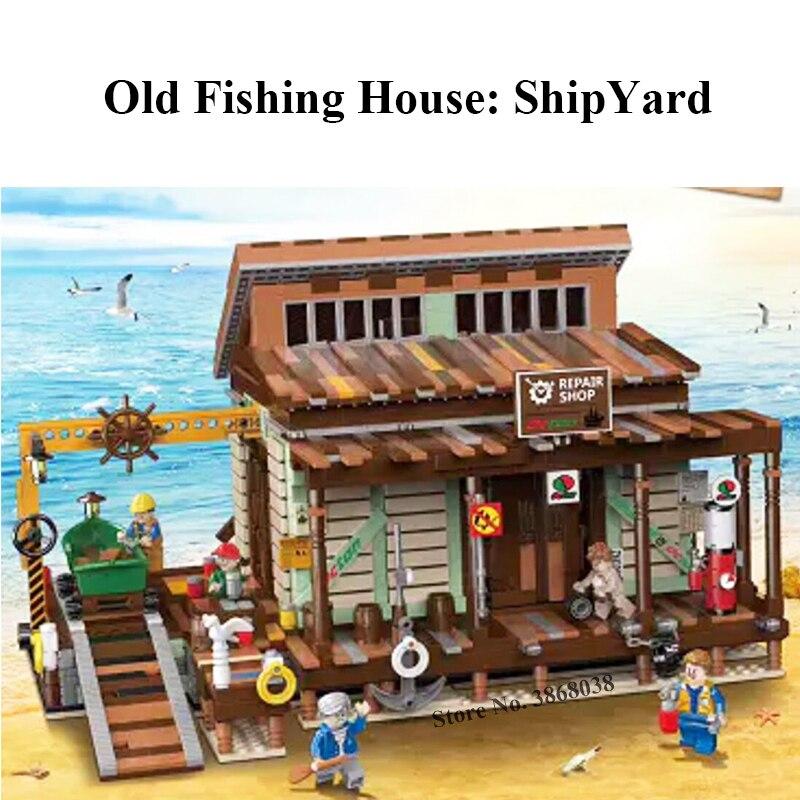 Fish House Pier Old Fishing Store Shipyard City Creator Street View Moc Model Building Blocks Lepinblocks Bricks Kits Toy Gift