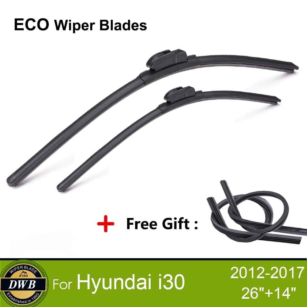 """2 uds cuchillas Limpiador ecológico para Hyundai i30 2012-2017 26 """"+ 14"""", regalo gratis 2 uds cauchos, escobillas limpiaparabrisas sustitución"""