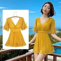 womens swimsuit one piece female 2021 conservative cover belly yellow sexy v neck slimming korean fairy hot spring swimwear
