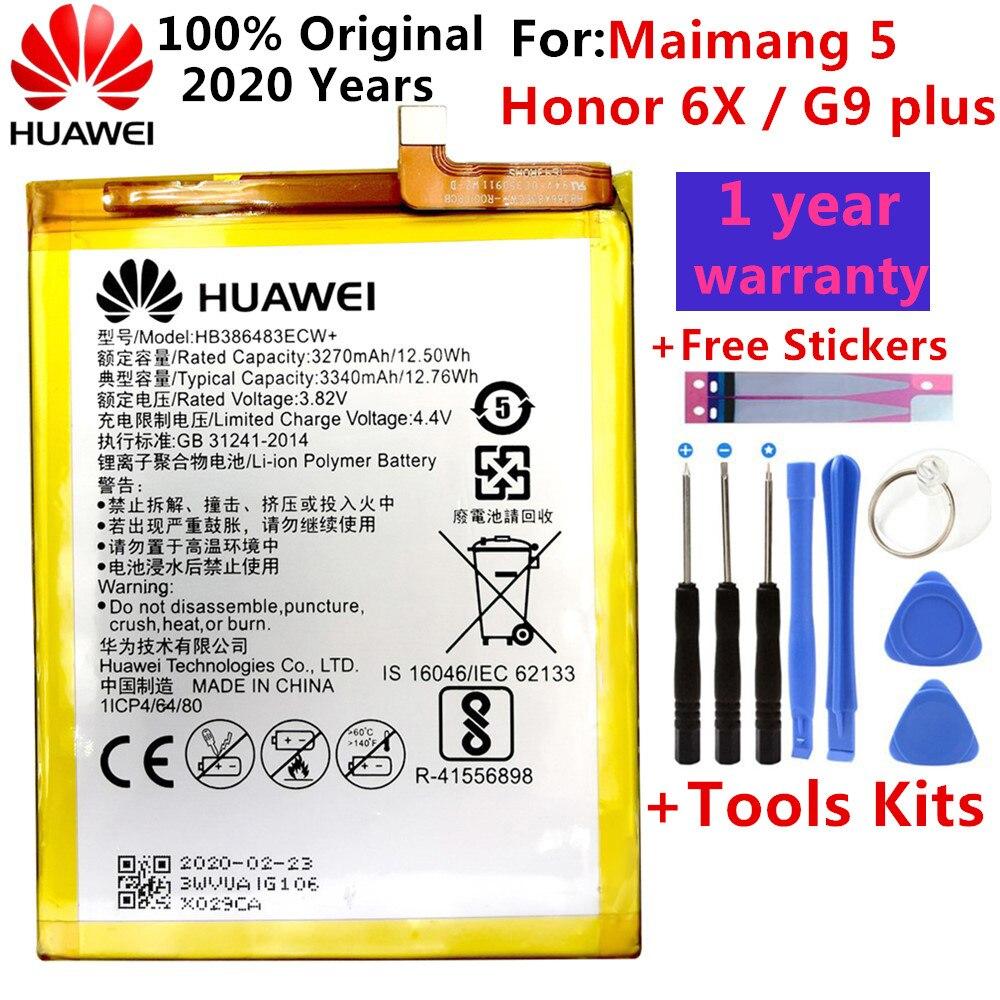 Huawei 100% bateria original hb386483ecw para huawei honor 6x g9 plus maibang 5 3340mah substituição telefone batteria akku navio rápido