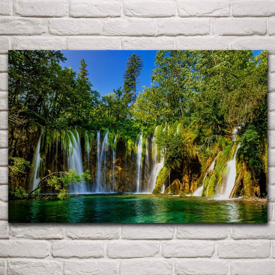 Los lagos de plitvice cascadas bosque naturaleza paisaje habitación casa Arte de la pared Decoración marco de madera de seda póster de tela KN329
