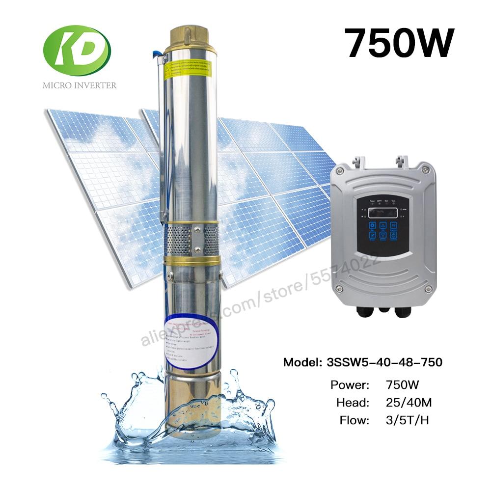 Bomba de agua Solar 750W DC 48V bomba de agua sumergible sin escobillas 5 T/H 40M cabeza para el hogar y la agricultura 1 año de garantía