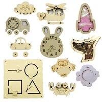 montessori busy board accessories children toys wooden sensory activity board diy material alarm clock gear for fine motor skill