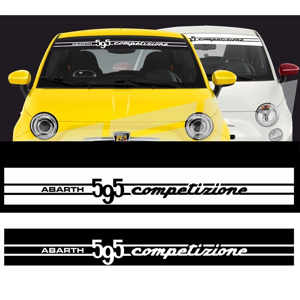 Pour Fiat 595 abarth compétitive bande de soleil bande de décalcomanies autocollants vinyle