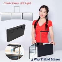 adjustable height brackets diy haircut tool 3 way trifold mirror portable touch screen led light 360%c2%b0 barber mirror