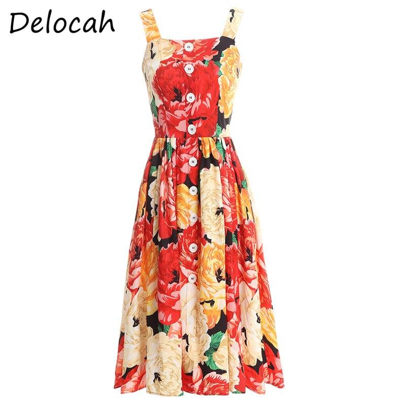 Delocah primavera verão vestido de designer moda feminina sexy cinta de espaguete botão simples floral impresso midi vestidos vestoidos