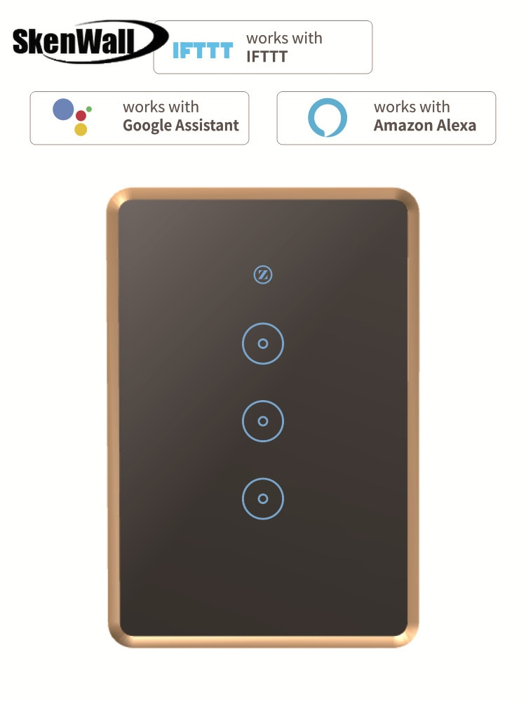 1 2 3 Gang Zigbee Smart Switch Tuya Glas Touch Panel Wand Schalter Drahtlose Steuerung Alexa Google Home Kompatibel 95-240V AC