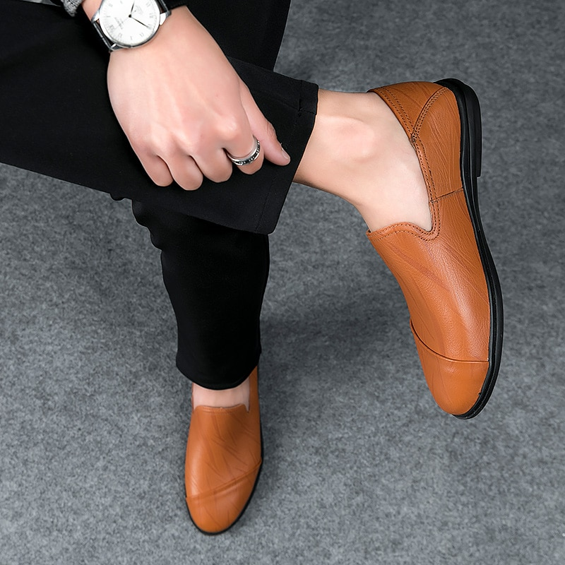 2021 Fashion Men's Shoes Casual Genuine Leather Loafers Male Classic Brown Black Slip On Shoe Man Platform Driving Shoes For Men