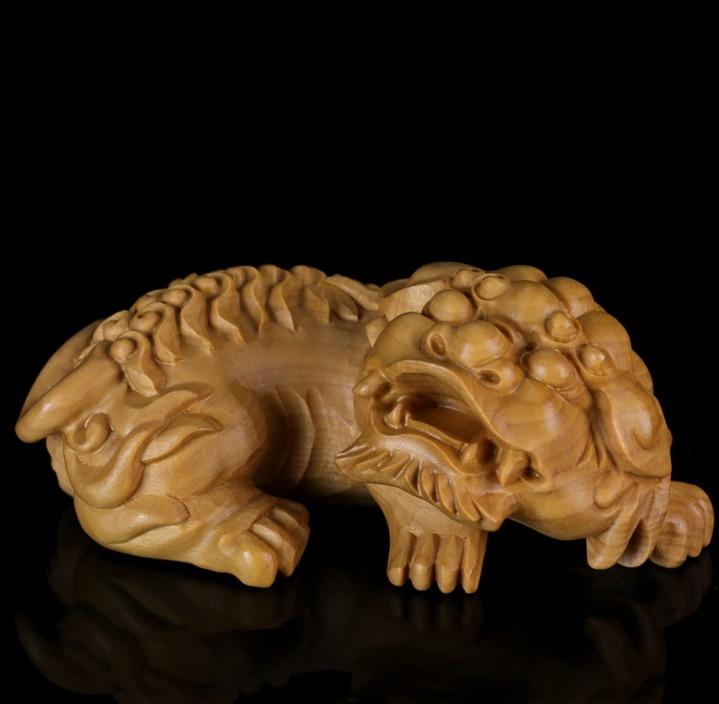 """Caja china de 3,3 """", estatua pequeña de madera tallada a mano de Animal Rui Beast Pixiu Pi Xiu Lion"""