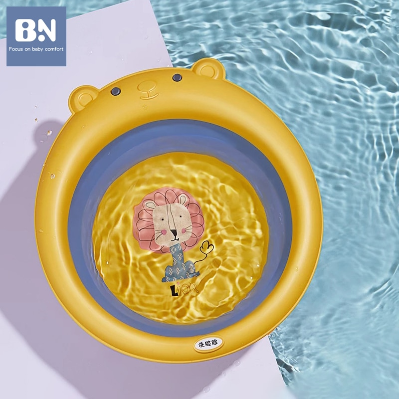 BN Foldable Portable Bathtub Large Foot Wash Basin for Newborn Baby Shower Washbasin Plastic Water Container Child Swimming Pool
