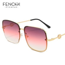 FENCHI gafas De Sol para mujer 2020 marca De lujo Retro Rosa Gradual marco con cadenas gafas De Sol cuadradas gafas De Sol para conducir gafas De Sol femeninas