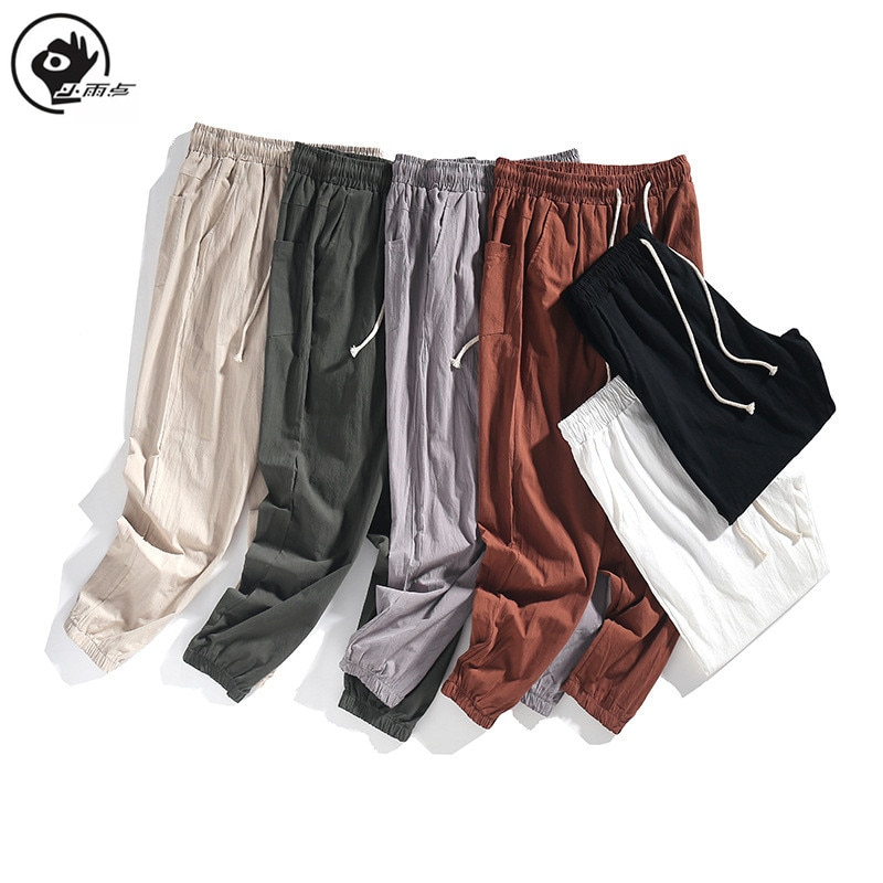 Little Raindrop Spring Autumn Men Loose Pants Solid Bottom-tied  Drawstring Pure Sports and Leisure