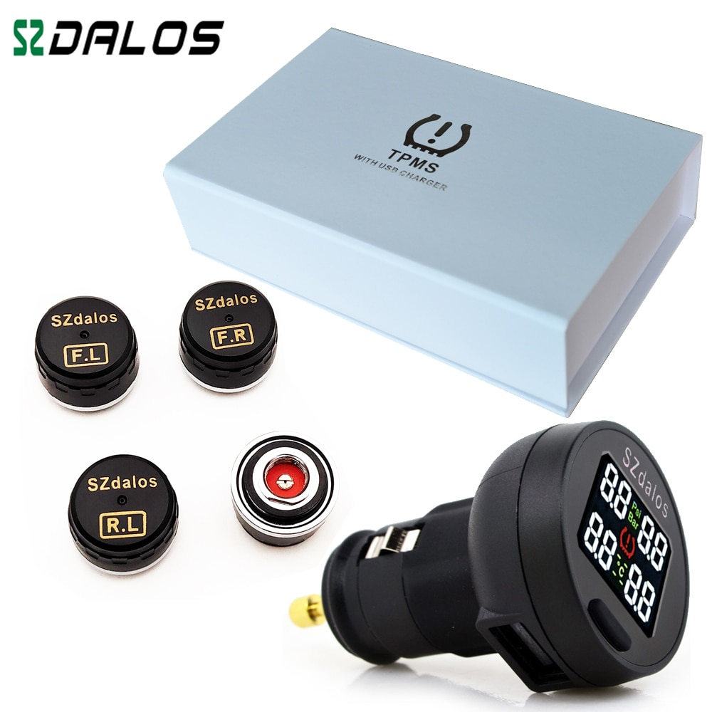 SZDALOS TP200 TPMS  Car Wireless Tire Pressure Monitoring System + 4 Mini Sensors  Cigarette Tyre Pressure Monitoring