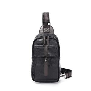 Leather Casual Set Series USB Charging Man Messenger Bag With Wallet Vintage Headphone Hole Anti-theft Chest Bag