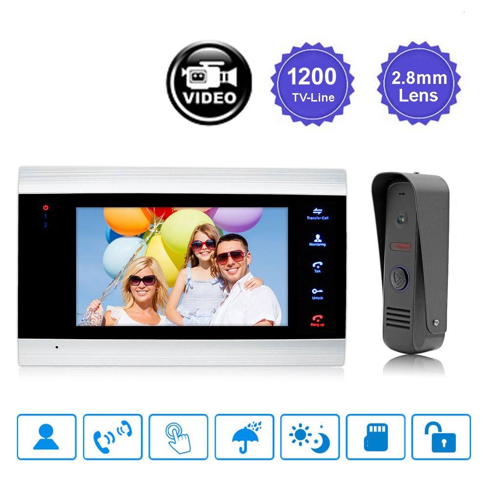 7 inch Touch Button HD Video Doorbell Intercom Waterproof Door Phone intercom 1 Monitor +1 Doorphone