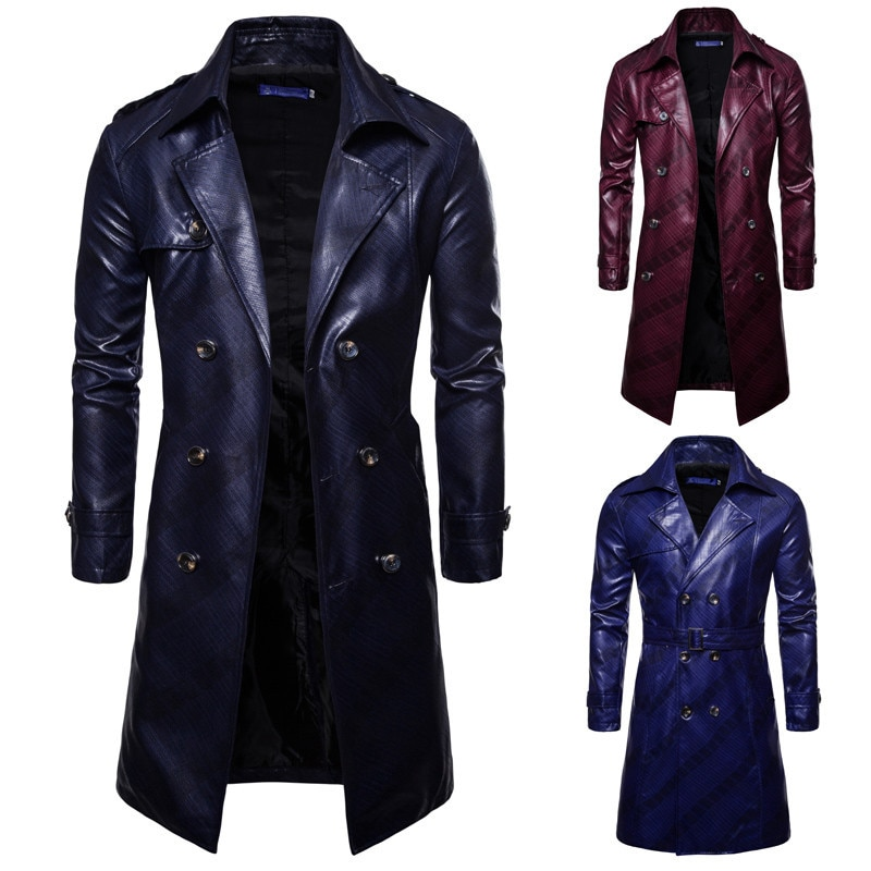 Men Winter Warm Faux Leather Coats Double Breasted Long Trench Coat Male Outerwear Overcoat PU Leather Jacket Parka (M-XXXL)