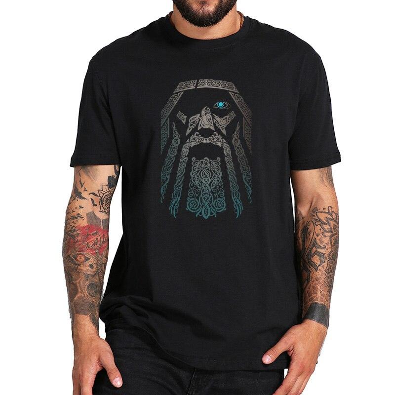 オーディンtシャツ · バイキングスaesir神北欧神話クールtシャツデジタル印刷黒綿 100% tシャツeuサイズ