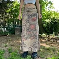22 women y2k graphic print midi skirts grunge fairycore pleated long skirt vintage kawaii goth black skirts women khaki vintage