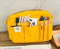 japanese fashion big storage pencil bag creative journal holder bag 26017060mm yellow blue