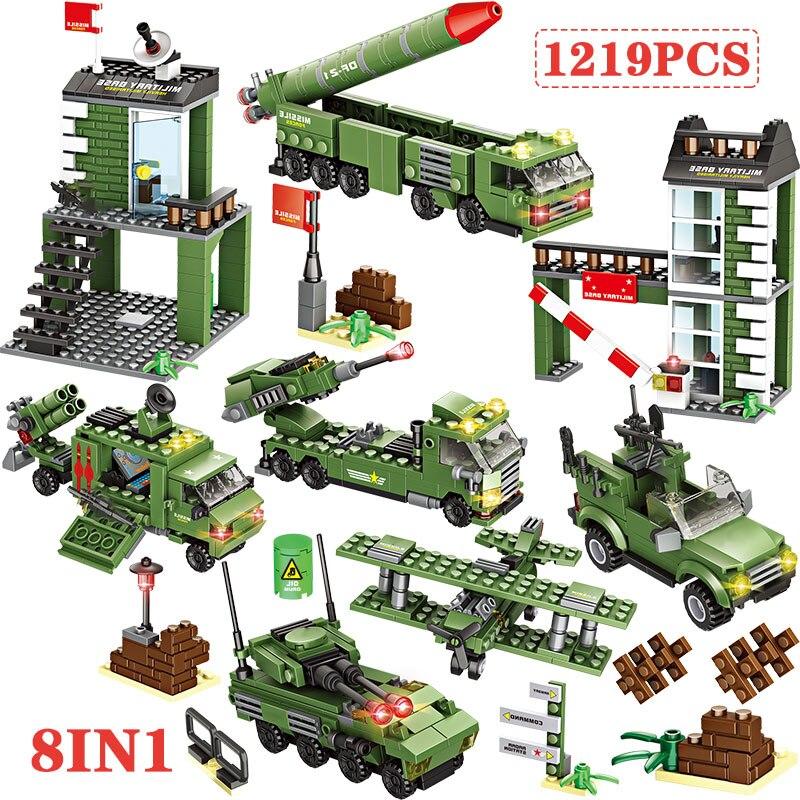 Bloques de construcción 8 en 1 de la policía de la ciudad, vehículo misil Base soldado, helicóptero, ladrillos, juguetes para niños compatibles con WW2 SWAT, bloques militares