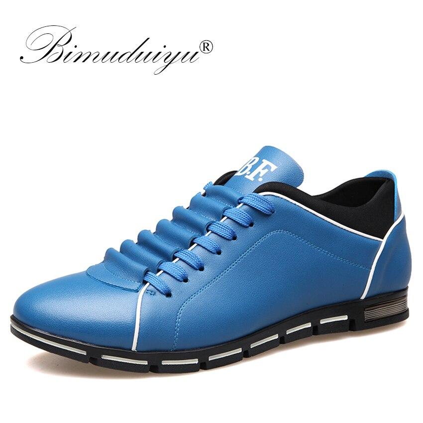 BIMUDUIYU-حذاء كاجوال على الطراز البريطاني للرجال ، حذاء برباط ، حذاء رياضي مريح ، من الجلد المصنوع من الألياف الدقيقة ، للربيع