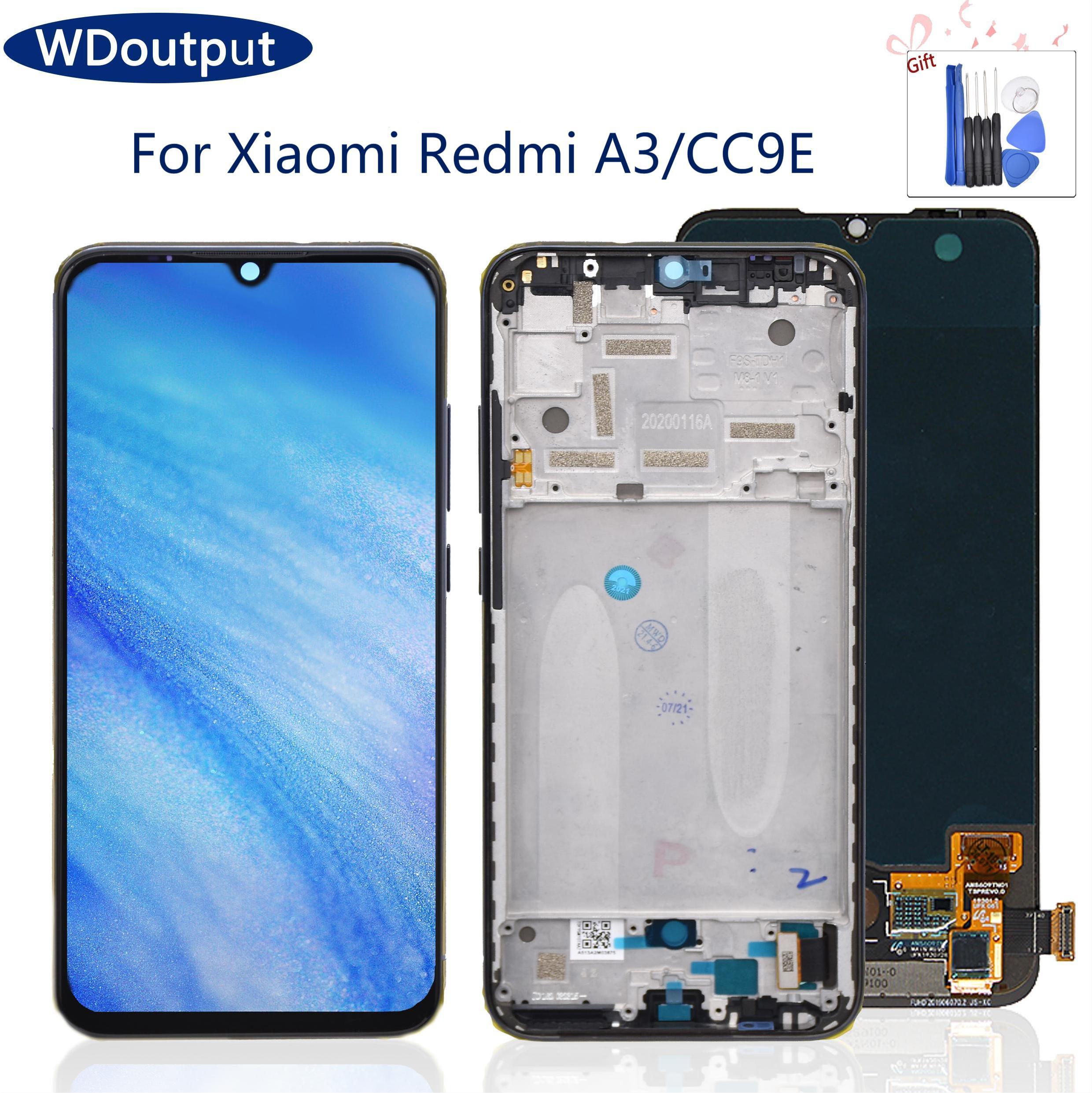 Pantalla LCD Super AMOLED para Xiaomi MI CC9E, digitalizador de pantalla táctil para Xiaomi Mi A3 LCD M1906F9SH, piezas de repuesto con marco