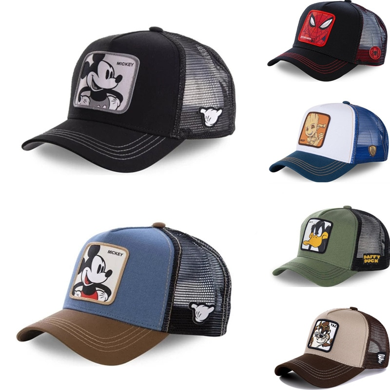 New Brand Anime Cartoon Mickey DONALD Duck Snapback Cotton Baseball Cap Men Women Hip Hop Dad Mesh H