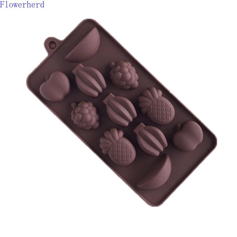 3d11 buracos silicone fruta chocolate molde abacaxi uva banana diy ferramentas de cozimento fondant bolo doces moldes ferramentas pastelaria sabão molde
