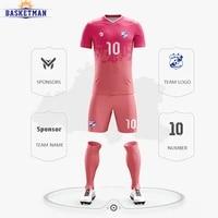 mens soccer uniform sets tracksuit customized prints team name logo sport training quick dry short sleeve football jerseys male