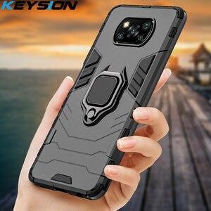 Противоударный защитный чехол KEYSION для Xiaomi POCO X3 NFC F2 Pro с кольцом и подставкой, бампер, задняя крышка для телефона Xiaomi Pocophone X3 NFC X2 F1