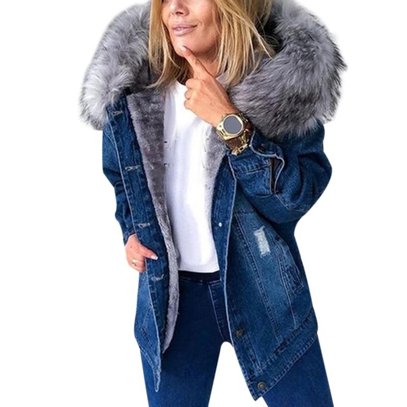 2021 Stylish Parka Retro Plush Collar Denim Jackets Fashion Woman Jacket Fleece Lined Warm Mid-Lengt