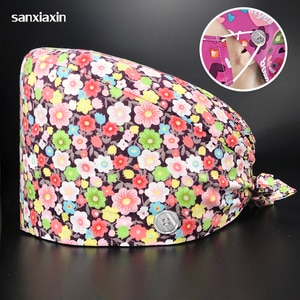 Flower Printed Scrubs Cap Cotton Health Service Nursing Hats Breathable Clearance Work Hats with Sweatband Scrubs Caps Wholesale