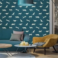 high quality latest animal pattern non woven wallpaper vinyl non adhesive water oil proof wall stickers for kids room refurbish