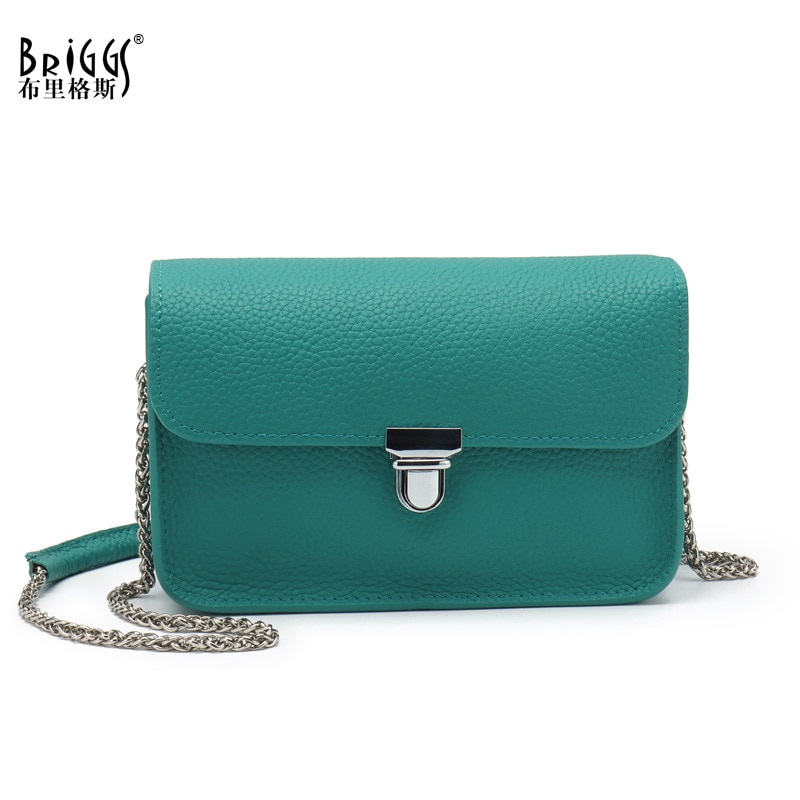BRIGGS Cow Genuine Leather Flap Handbag Fashion Women Shoulder Bag Quality Chains Lady Messenger Crossbody Purse Tote luxury famous designer diamond lady bag lady tote handbag women handbag purse import genuine leather europe brand top quality